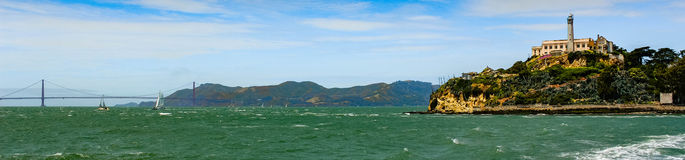 San Francisco Bay. From the Golden Gate Bridge to Alcatraz Stock Photo