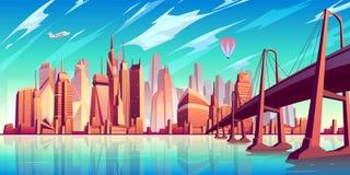 Metropolis skyline cartoon vector background vector illustration