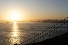 San Francisco Bay på soluppgång Arkivfoton