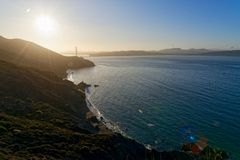 San Francisco Bay på soluppgång Arkivbilder