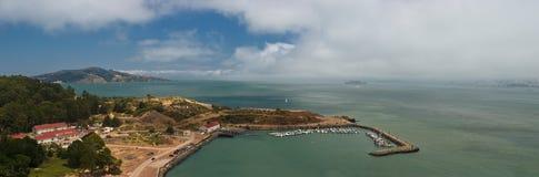 San Francisco Bay Panorama. Panorama of San Francisco bay, Treasure Island and Marin County Stock Image