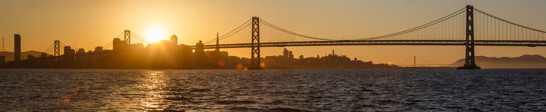 San Francisco Bay Panoramic at Sunset from Oakland side. Of Bay Stock Photos