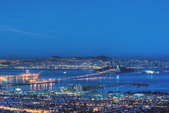 San Francisco Bay in Pre-Dawn Blue Royalty Free Stock Image
