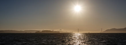 San Francisco Bay Sunset Panorama Royalty Free Stock Photos