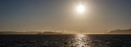 San Francisco Bay Sunset Panorama Royalty Free Stock Photos