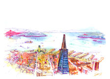 San francisco bay view from the tall building. View from 55 building cafe. Showing whole San Francisco bay to the skyline. Illustration show colorful beautiful Stock Image