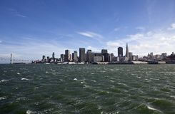 San Francisco Bay with Windy Waves Royalty Free Stock Photos