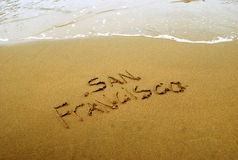 San Francisco in beach sand Royalty Free Stock Photos