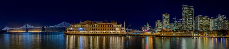 San Francisco Belle and downtown at Chrismas from wooden Pier 7 Royalty Free Stock Image