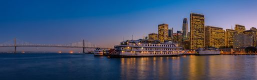 San Francisco Belle and downtown at Chrismas from wooden Pier 7 Stock Images
