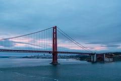 San Francisco Beyond Golden Gate at Dawn. The Golden Gate Bridge in San Francsico before Sunrise Royalty Free Stock Photo