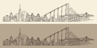 San Francisco, big city architecture, vintage engraved illustration, hand drawn, sketch,  Stock Photography