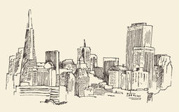 San Francisco, big city architecture, vintage engraved illustration, hand drawn, sketch,  Stock Photo