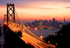 San Francisco bij zonsondergang Stock Fotografie