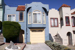 San Francisco Blue House Facade. Facade of a blue row house in the Outer Richmond neighborhood of San Francisco, in a modern style with a large second floor Royalty Free Stock Images