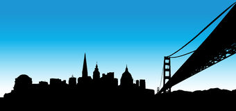 San Francisco Blue Skyline. Vector the San Francisco skyline on blue background Royalty Free Stock Images