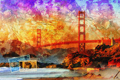 San Francisco bridge, digital art abstract. Printable on canvas, wallpaper Stock Photo