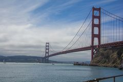 San Francisco bridge Golden gate beautiful clouds stock photo