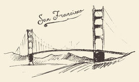 San Francisco Bridge Vintage Engraved Illustration Royalty Free Stock Photo