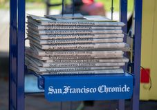 A stack of San Francisco Chronicle newspapers royalty free stock photography