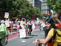 Woman takes in the 2017 SF Pride Parade stock photos