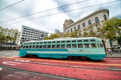 SAN FRANCISCO, CA - AUGUST 6, 2017: Vintage tram cable trolley c Stock Photo