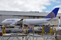 A Boeing 747-400 airplane from United Airlines UA. SAN FRANCISCO, CA -A Boeing 747-400 airplane from United Airlines UA at the San Francisco International Royalty Free Stock Photography