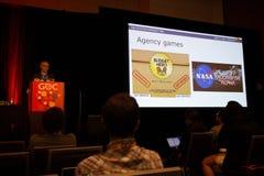 SAN FRANCISCO, CA - CIRCA im März 2015 - Beamter des Weißen Hauses spricht über Spiel am GDC Stockbilder