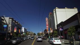 Driving to Castro Theater on Castro Street in San Francisco. SAN FRANCISCO, CA - Circa October, 2016 - Driving past the gay-friendly businesses on Castro Street stock video