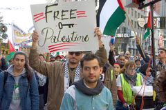 Protest in San Francisco, CA regarding Jerusalem declared capitol of Isreal Stock Photos