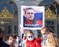Protesters demanding the release of Alexei Navalny