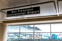 San Francisco, CA - January 3, 2016.  Bay Area Rapid Transit (BART) Terminal  Platform 4 adjacent to the San Francisco. A unique view of the International Royalty Free Stock Image