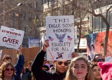 Women`s Protest March, San Francisco, CA. San Francisco, CA - January 20, 2018: Unidentified participants in the Women`s March. Designed to engage and empower Royalty Free Stock Image
