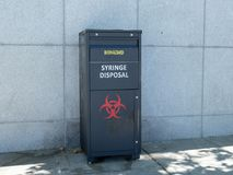 A syringe disposal/biohazard canister sitting outside in San Francisco's Civic Center stock photos