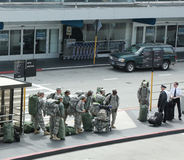 American soldiers returning home from duty in San Fransisco Airport Stock Images