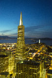 Areal view on Transamerica pyramid and city of San Francisco at dusk Royalty Free Stock Image