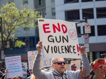End gun violence, anti NRA sign at March for Our Lives rally in royalty free stock photos
