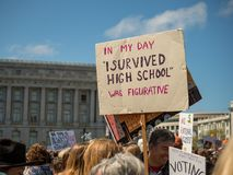 """In my day"" sign at March for Our Lives rally in San Francis royalty free stock images"