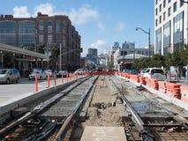 Transportation construction in San Francisco. SAN FRANCISCO, CA - MARCH 16, 2018: San Francisco Municipal Transportation Agency SFMTA constructing new light rail royalty free stock photos