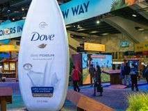 Giant inflatable Dove body wash bottle at Salesforce Dreamforce conference royalty free stock image