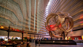 SAN FRANCISCO, CA - September 02, 2014: The sculpture Eclipse in the lobby of Hyatt Regency Hotel. Eclipse is an anodized aluminu. The sculpture Eclipse in the stock photos