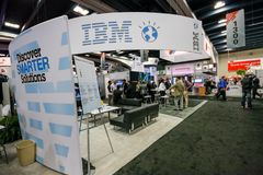 Booth of IBM company at exhibition of Oracle OpenWorld conference Stock Photography