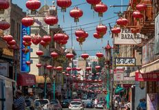 Grant Ave in Chinatown, San Francisco, CA, USA royalty free stock images