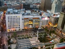 Aerial view to Macys flagship store on Union Square. SAN FRANCISCO, CA, USA - NOV 11, 2007: Aerial view to Macys flagship store on Union Square at dusk on Nov 11 Stock Images