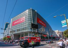 Attendees of Oracle OpenWorld conference go to Moscone Center West. SAN FRANCISCO, CA, USA - OCT 2, 2012: Attendees of Oracle Open World conference go to Stock Photography