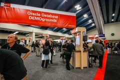 Oracle database demoground booth at exhibition hall of Oracle OpenWorld Royalty Free Stock Photo