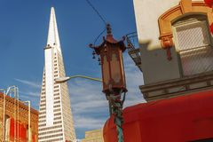 Decorated street lamp in San Francisco Chinatown Royalty Free Stock Image