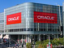 Attendees of Oracle Open World conference go to  Moscone Center. SAN FRANCISCO, CA, USA - SEPT 18, 2005: Attendees of Oracle Open World conference go to  Moscone Stock Photography