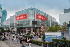 Attendees of Oracle Open World conference go to  Moscone Center. SAN FRANCISCO, CA, USA - SEPT 19, 2010: Attendees of Oracle Open World conference go to  Moscone Royalty Free Stock Photos