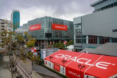Attendees of Oracle Open World conference go to  Moscone Center. SAN FRANCISCO, CA, USA - SEPT 19, 2010: Attendees of Oracle Open World conference go to  Moscone Royalty Free Stock Photography